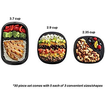 Rubbermaid 2077543 TakeAlongs Meal Prep and Food Storage Containers, 15-Pack, Black