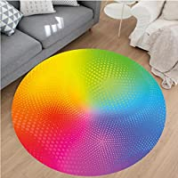 Nalahome Modern Flannel Microfiber Non-Slip Machine Washable Round Area Rug-nt Neon Colors Circles Rounds Dots Radiant Composition Iridescent Effect Print Multicolor area rugs Home Decor-Round 79