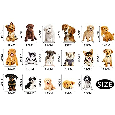 3D Dog Wall Sticker 17PCS Pet Stickers for Kids Wall Decals Living Room Baby Rooms Bedroom Toilet House Wall DIY Decoration: Kitchen & Dining