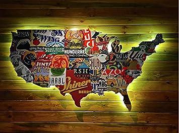 Amazon.com: Faicai Art License Plate Map Of the United ...
