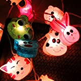 UChic 1.2M 10LED Thai Paper Light String Colorful Decorative Night Light Personality Creative Animals Light Children Room Manual Paper Lights