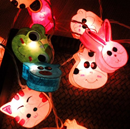UChic 1.2M 10LED Thai Paper Light String Colorful Decorative Night Light Personality Creative Animals Light Children Room Manual Paper Lights by UChic