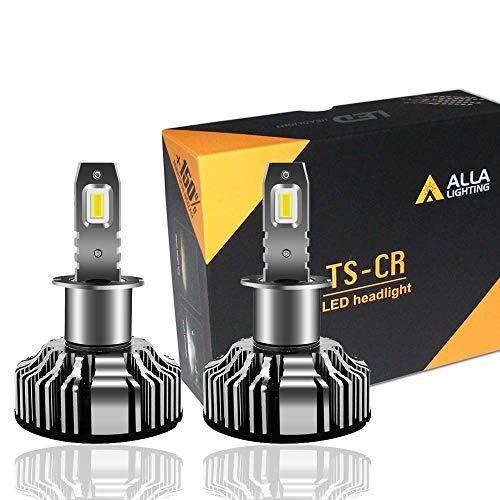 Alla Lighting 10000lm H1 LED Headlight Bulbs Extremely Super Bright TS-CR LED H1 Headlight Bulbs Conversion Kits Bulb, 6000K Xenon White