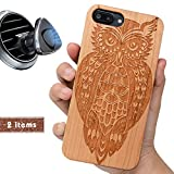 iProductsUS Wood Phone Case Compatible with iPhone 8 Plus, 7 Plus, 6 Plus, 6s Plus and Magnetic Mount, Engraved Owl, Built in Metal Plate, TPU Shockproof Covers (5.5 inch)
