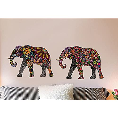 AmaonmR Creative Kids Room Wall Decals Removable Cute Cartoon Colorful Animals Sunflower Veins Elephant Stickers Murals Wallpaper For Nursery