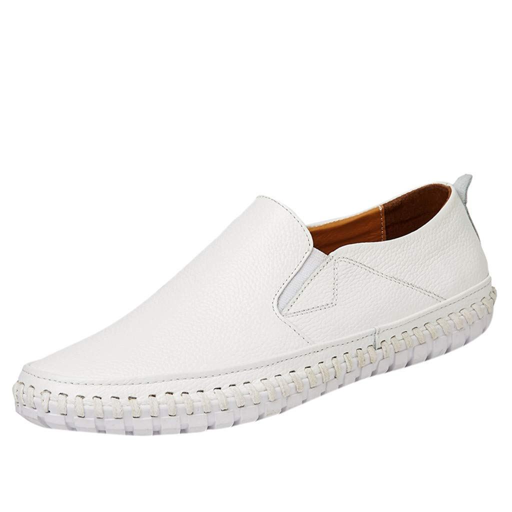 Men's Leather Loafers Casual Breathable Fashion Business Driving Boat Formal Shoes (US:10, White)