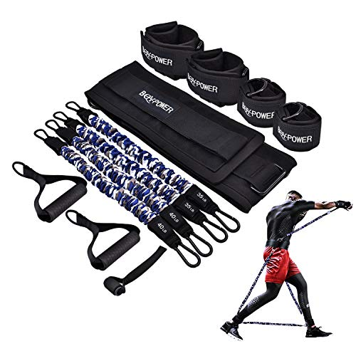 BQYPOWER Resistance Bands Set, 12PCS Exercise Bands Workout Band Ankle Exercise Bands with Door Anchor Handles Legs Ankle Straps for Resistance Training