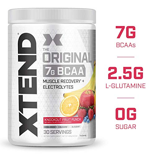 XTEND Original BCAA Powder Knockout Fruit Punch   Sugar Free Post Workout Muscle Recovery Drink with Amino Acids   7g BCAAs for Men & Women   30 Servings