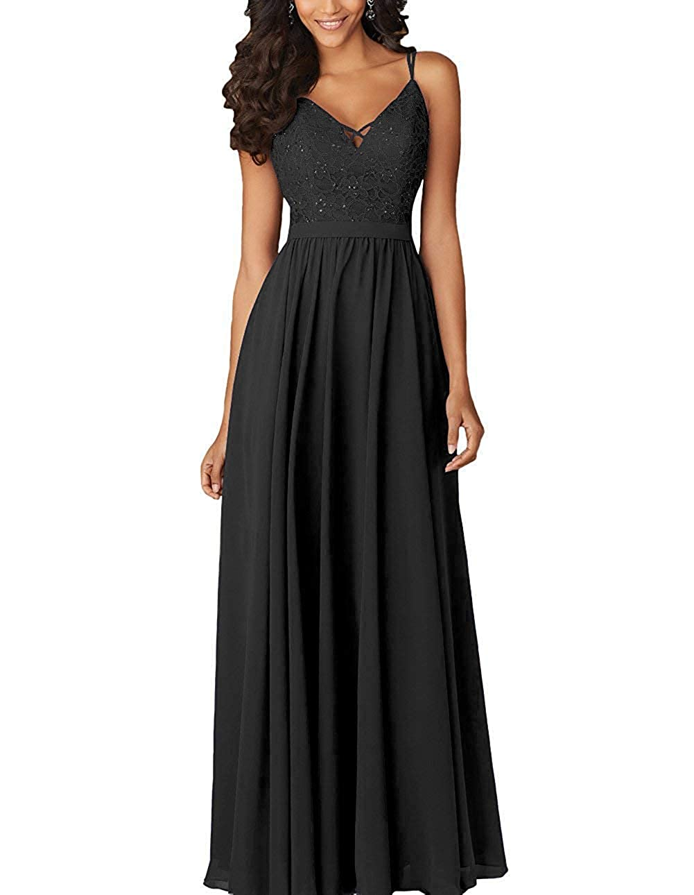Black ZLQQ Womens Bridesmaid Dresses Long Beaded Formal Spaghetti Strap Evening Party Gowns