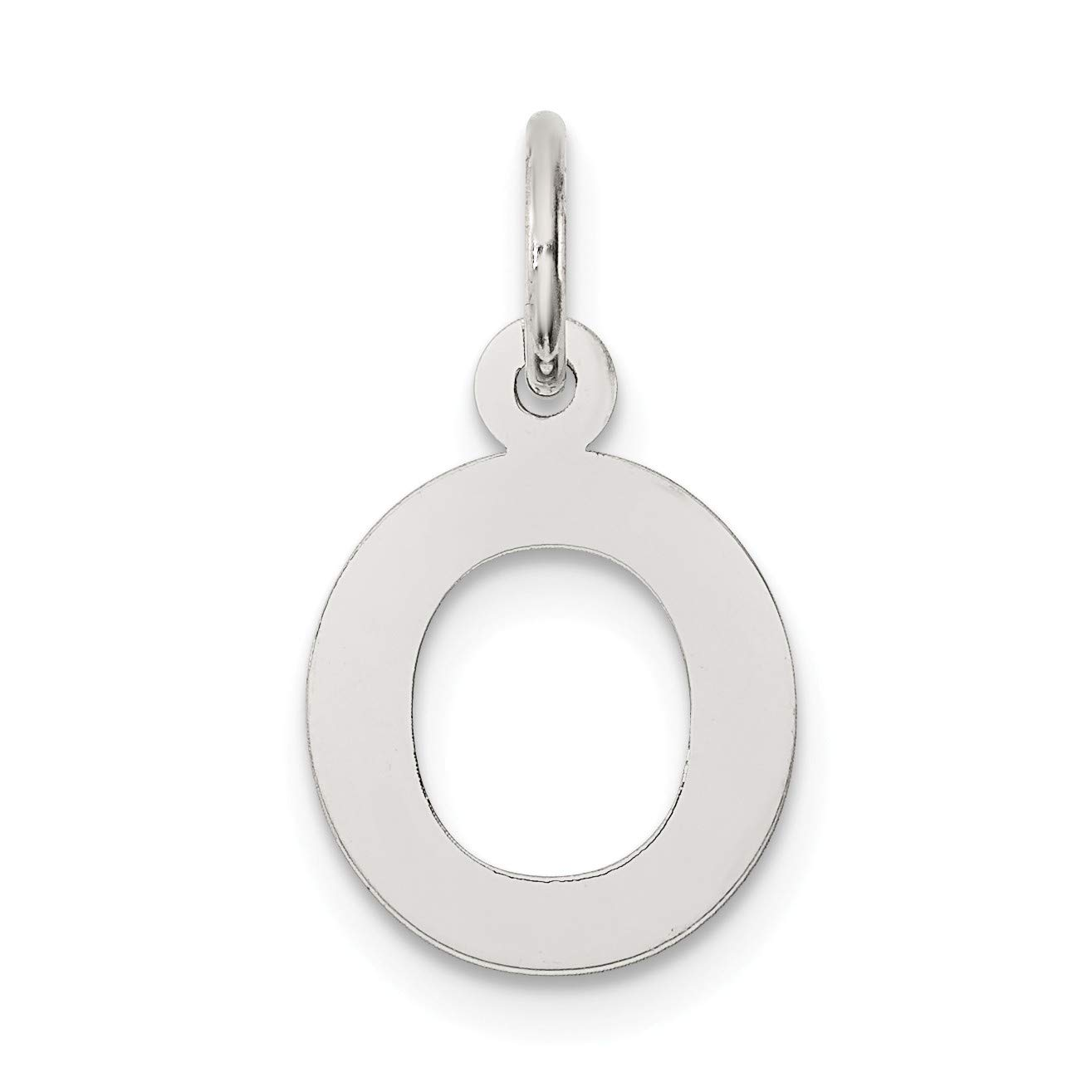 Bonyak Jewelry Sterling Silver Rhodium-Plated Small Block Initial O Charm