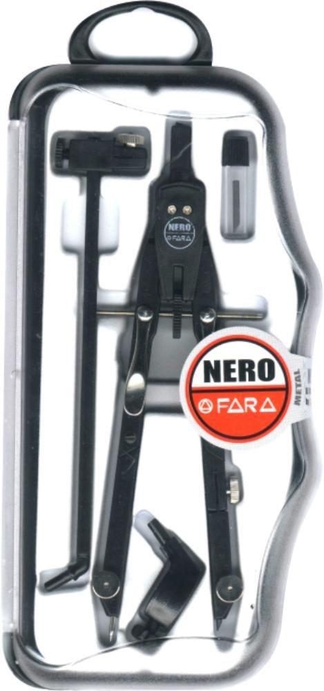 FARA NF/01 Nero - Compasso Balaustrone in Metallo con Apertura Micrometrica e Frizione - Completo di Prolunga