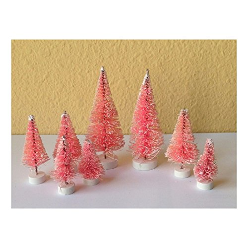 Pink Bottle Brush (Set of 8 Mini Pink Sisal Bottle Brush CHRISTMAS TREES ~ Snow Frost Village)