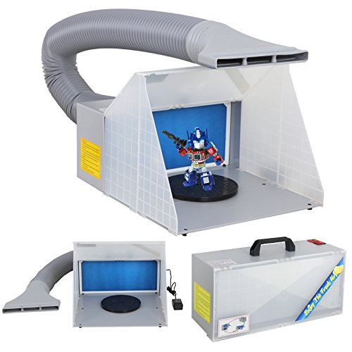 F2C Airbrush Spray Booth Kit Paint Craft Odor Extractory Hobby Spray Booth Portable W/Turn Table Extension Hose Powerful Fan for Toy Model Parts