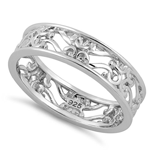 Heart Beats Sterling Silver Vector Peach Blossom Floral Branches Design 5.5mm Eternity Ring- Size 4-11 (Sterling-Silver, 11)