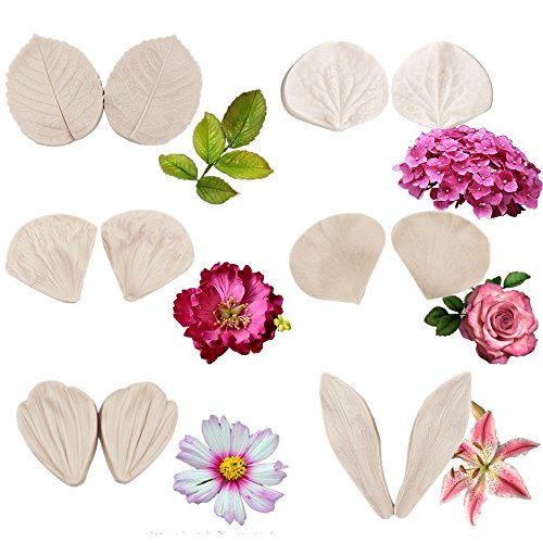 6set Gumpaste Flower Silicone Veining Mold - Fondant Rose Veined Mold,Gum Paste Peony Flower Mold,Sugar Flower Cake Decorating Tool for Lily Daisy Hydrangea Flower Wedding Cake Decoration ()