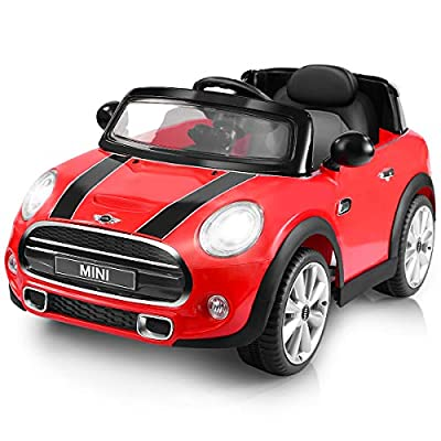 Costzon Ride On Car, Licensed BMW Mini Cooper Electric Car, 12V Battery Powered Kids Vehicle with Manual/ Parental Remote Control Modes , MP3 Port, Headlights, Music, High/Slow Speeds by Costzon