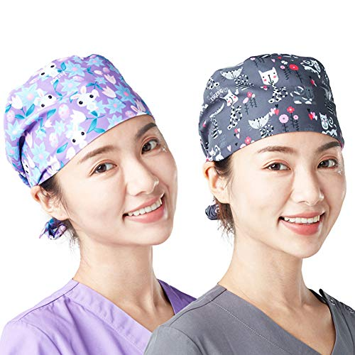 Surgical Hat Scrub Cap Medical Doctor Bouffant Hat with Sweatband for Womens Mens