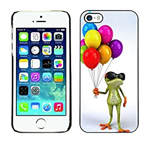 LASTONE PHONE CASE / Carcasa Funda Prima Delgada SLIM Casa Carcasa Funda Case Bandera Cover Armor Shell para Apple Iphone 5 / 5S / Cool Birthday Kids Frog White
