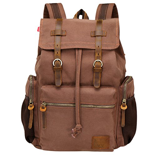Wowbox 15.6 Inch Laptop Canvas Backpack Unisex Vintage Leather Casual Rucksack School College Bags Satchel Bookbag Large Capacity Hiking Travel Rucksack Business Daypack for Men and Women(Coffee)