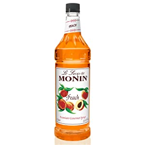 Monin - Peach Syrup, Fresh and Juicy Flavors, Great for Iced Teas, Lemonades, and Sodas, Vegan, Gluten-Free (1 Liter)