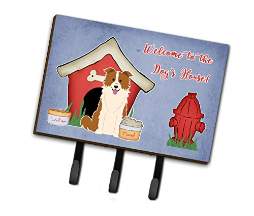 Caroline's Treasures Dog House Collection Border Collie Red White Leash or Key Holder BB2873TH68, Triple,