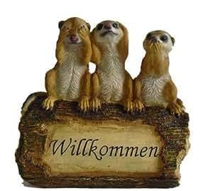 Decoración-figuras de suricatos-grupo en poliresina diseño de tronco de árbol