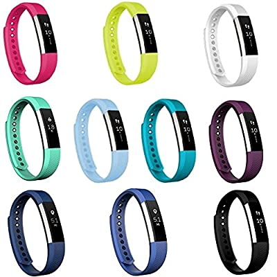 Replacement Straps For Fitbit Alta, Dunfire Colorful Accessory Band/ Wristbands With FREE Secure Silicone Fastener Rings And Metal Clasp For Fitbit Alta Smart Fitness Tracker