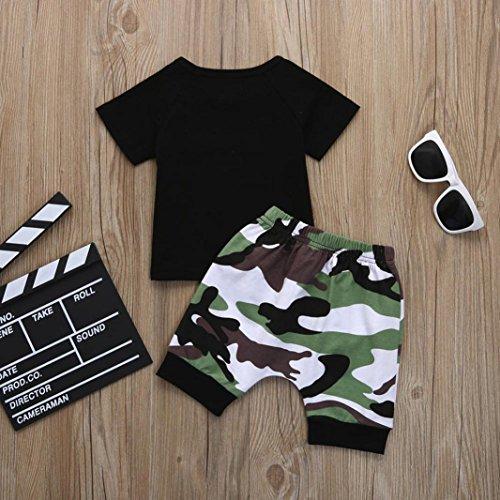 Omiky® Kinder Baby Junge Brief T-Shirt Oberteile + Tarnung kurze Outfit Kleidung Set Schwarz