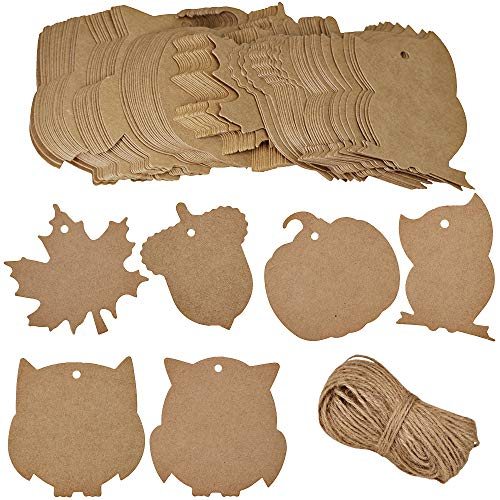 (Supla 120 Pcs Maple Leave Owl Pumpkin Acorn Paper Cutouts with Holes Party Brown Kraft Xmas Tags Cards with Jute Strings Hang Labels Tags Candy Favor Tags Rustic Name Table)