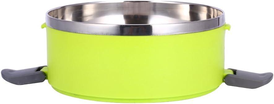 2 Layer con aislamiento interno t/érmico herm/ético Yosoo Fiambrera t/érmica port/átil acero inoxidable 3/compartimentos y asa verde