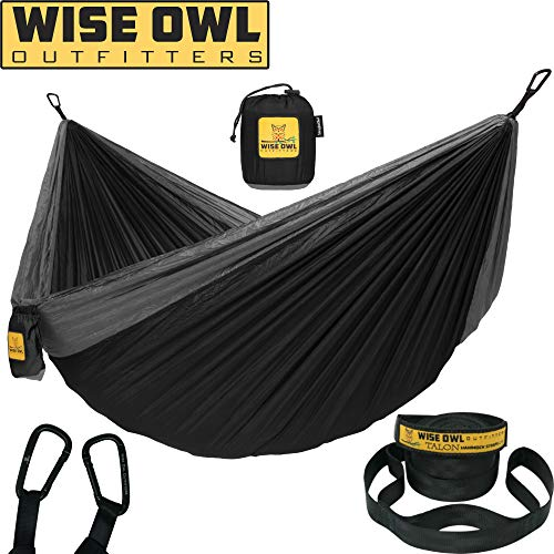 Wise Owl Outfitters Hammock for Camping Single & Double Hammocks Gear for The Outdoors Backpacking Survival or Travel - Portable Lightweight Parachute Nylon SO Black & Grey (Top 10 Legit Work At Home Jobs)