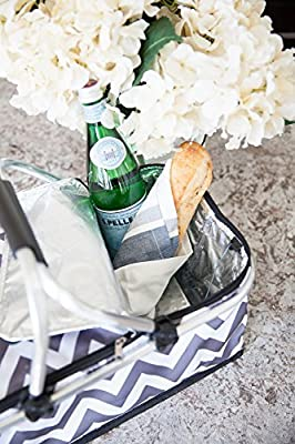 Sprucebay Insulated Picnic Basket - Strong Aluminum Frame - Waterproof Lining - Collapsible Design for Easy Storage - Take it Camping, Picnicking, Lake Trips, or Family Vacations - Keeps Food Cold from Sprucebay