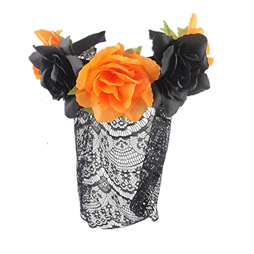 sd finger Retro Style Women Sexy Black Lace Veil Mask Mask Rose Flowers Headdress for Halloween Queen Cosplay Costume Party Headband (Orange) -