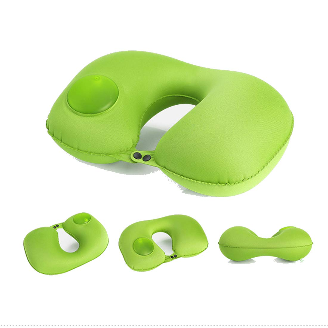 Alotm Inflatable Travel Pillow Compact Travel Neck Pillow for Car, Airplane, Train, Bus, Home and Office, Fast Inflate/Deflate, Support Head and Neck (Green)
