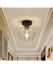 DLLT Modern Semi Flush Mount Ceiling Light, Close to Ceiling Light with Glass Shade for Hallway,Entryway,Foyer,Bedroom, Cafe, Bar, Corridor, Passway