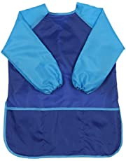 Children Art Smock Kids Art Aprons with Waterproof Painting Apron Long Sleeve 3 Pockets for Age 3-8 Years (Blue)