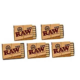 Raw Natural Unrefined Pre-Rolled Filter Tips 5 Pack (21 Per Box)