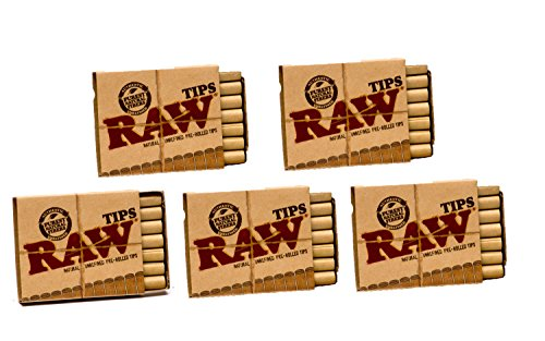 Raw Natural Unrefined Pre Rolled Filter Tips 5 Pack   21 Per Box