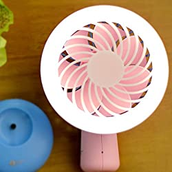 Besplore Mini Handheld Fan,Battery Operated USB Rechargeable,Small Portable Fan,LED Lights Pocket Fan,Pink & Blue