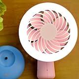 Besplore Mini Handheld Fan,Battery Operated USB Rechargeable,Small Portable Fan,LED Lights Pocket Fan,Pink & Blue