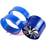 """Rxmotor 3"""" Short Ram Cold Air Intake Fuel Gas Saver Single Fan Universal Fit Super Charger Turbo (BLUE)"""
