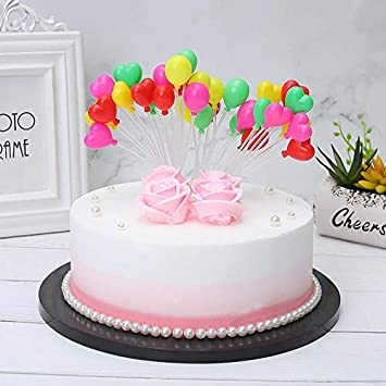 Lioong 16 Colors Plastics Plain And Heart Balloons Cake Toppers Kits Birthday Cupcake Decoration
