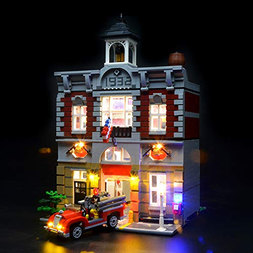 Briksmax Fire Brigade Led Lighting Kit- Compatible with Lego 10197 Building Blocks Model- Not Include The Lego Set