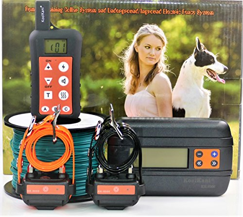 KoolKani Remote Dog Training Shock Collar & Underground/In-ground Electronic Dog Containment Fence System Combo (2-Dog_Set) Fence Training