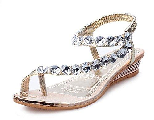 Easemax Womens Fashion Öppen Tå Ankelbandet Elastisk Rem Strass Kilar Sandaler Guld