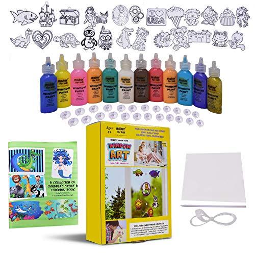 KOKO AROMA Create Your Own Window Paint Art Suncatcher Craft Kit-Boys Girls-Toys Age 6-12 Toddler Children