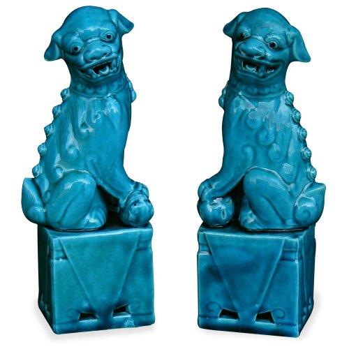 (China Furniture Online Porcelain Foo Dogs Statues, Sitting Guarding Lions Sculptures Blue Glaze Set of 2)