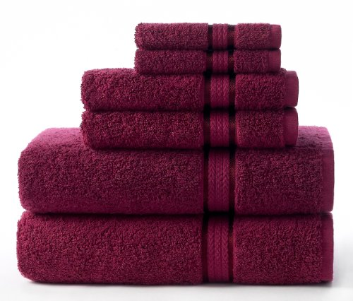Cotton Craft Ultra Soft 6 Piece Towel Set Burgundy, Luxurious 100% Ringspun Cotton, Heavy Weight & Absorbent, Rayon Trim - 2 Oversized Large Bath Towels 30x54, 2 Hand Towels 16x28, 2 Wash Cloths 12x12