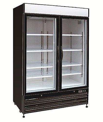 Panels Door Cf Refrigerator (Chef's Exclusive CE326 Commercial 2 Hinged Swing Double Glass Door Refrigerated Merchandiser Cooler Showcase LED Lights 48 Cubic Feet 8 Adjustable Shelves Digital Controller Locks, 54 Inch Wide, Black)