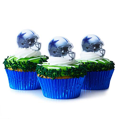 (24) Dallas Cowboys Cupcake Toppers KIT- Dallas Cowboys Football Helmet Rings - (24) Blue Foil Cupcake Liners - (3.2 oz) Green Sugar Jimmies -